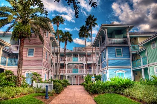 The beautiful pastel colors of the Disney Old Key West Resort
