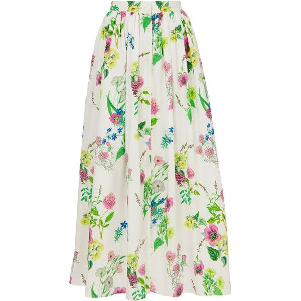 Mds Stripes Floral Maxi Skirt ($495) ❤ liked on Polyvore featuring skirts, floral skirts, floral print maxi skirt, long cotton skirts, maxi skirts and floral cotton skirt