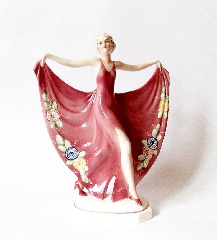 RARE Goldscheider Era Katzhutte Art Deco 1920s Large Porcelain Figurine of Woman | eBay