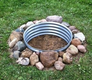 in ground fire pit ring and rock - simple