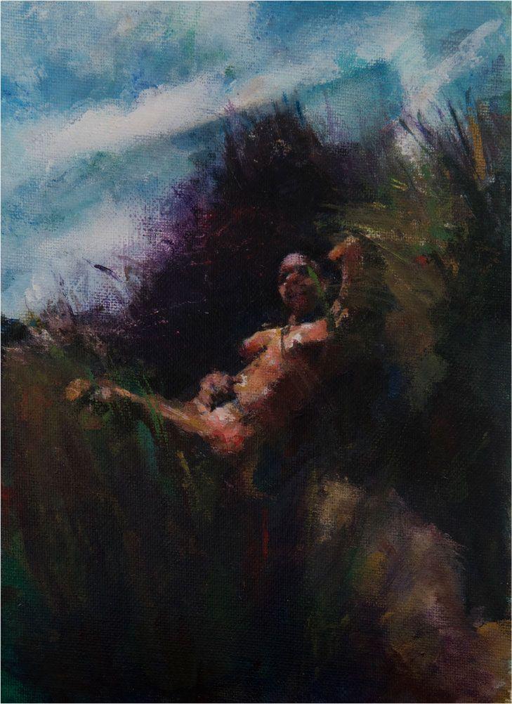Klein schilderijtje 'Saskia' Het doek is 20 x 30 cm en ingelijst met een passe partout achter museumglas. Voor dit schilderij stond actrice Saskia Temmink naakt model in de duinen. € 695,-