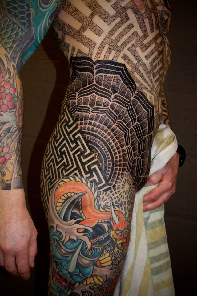 Badass geometric male hip tattoo by vincent hocquet for Pelvic tattoos for guys
