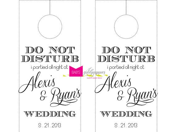 Wedding Do Not Disturb Door Hanger By Beccaannbonddesigns