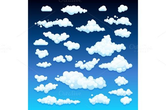 set Vector illustration of clouds. UI Elements. $5.00