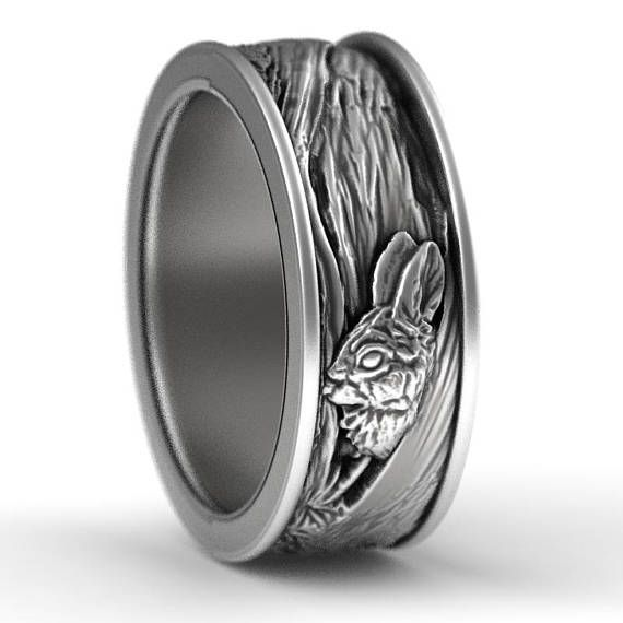 Sterling Silver Rabbit Wedding Ring Rabbit Wedding Band Tree Etsy Nature Inspired Rings Bark Wedding Ring Owl Wedding Ring