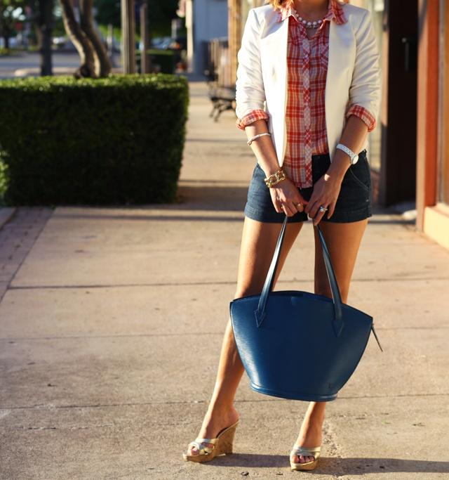 White Blazer from Forever21, Louis Vuitton Epi Leather
