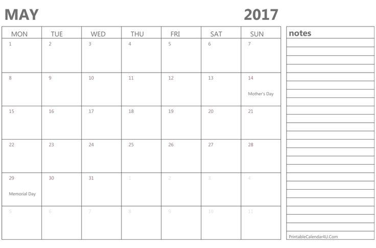 Free May 2017 Calendar