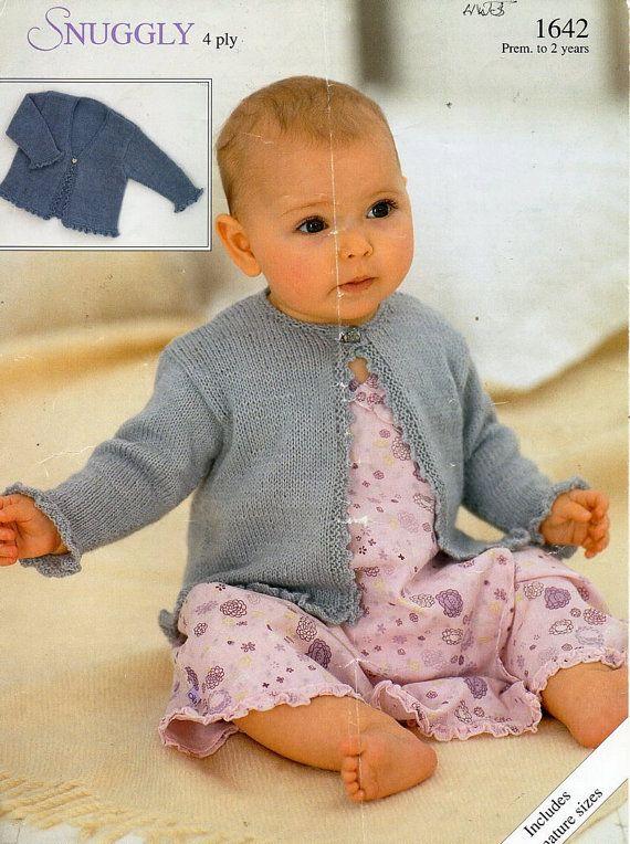 baby 4ply cardigans knitting pattern PDF baby girls frilly