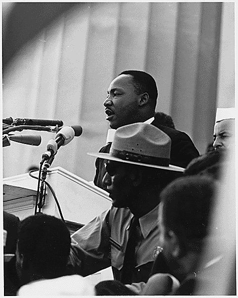 """Martin Luther King, Jr.'s Inspiring Life: Martin Luther King Jr. speaking at the March on Washington where he gave his """"I have a Dream"""" speech."""