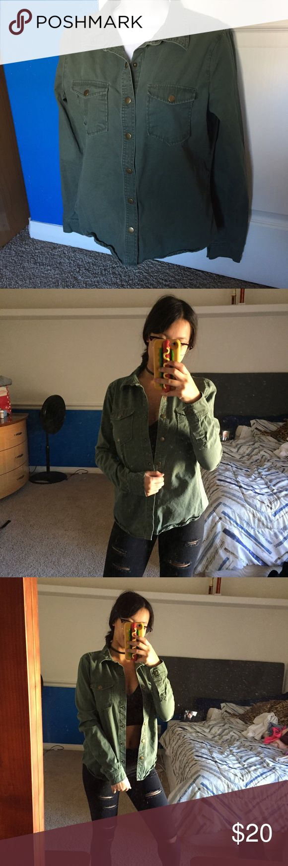 Forever 21 army green denim jacket used at most 3 times, in great condition, has 2 front pockets. buttons down and has a collar Forever 21 Jackets & Coats Jean Jackets
