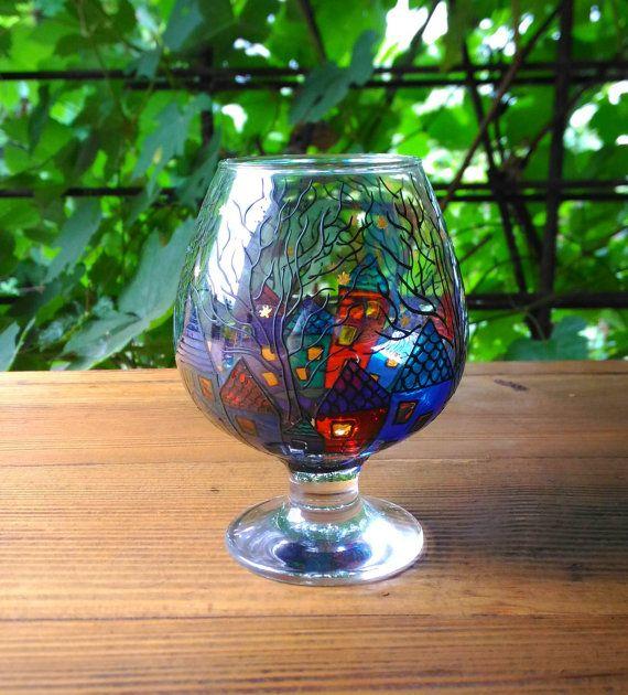 Magic Candle Holder Gift Stained Glass 74 от ArtGlassCo на Etsy