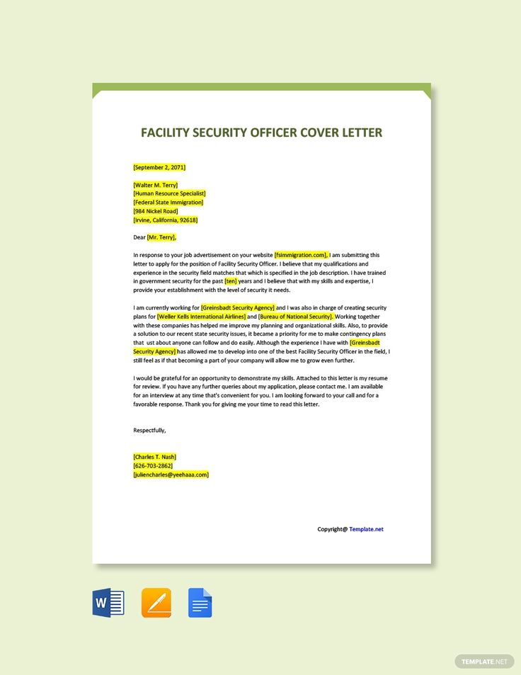 Free facility security officer cover letter template in