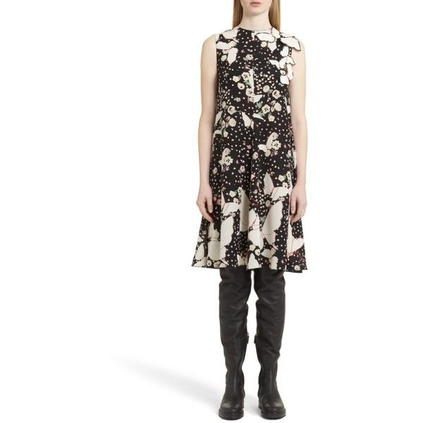 Women's Valentino Pop Butterfly Applique Silk Crepe De Chine Dress ($3,290) ❤ liked on Polyvore featuring dresses, black, butterfly print dress, flutter-sleeve dress, animal dress, applique dress and a line dress