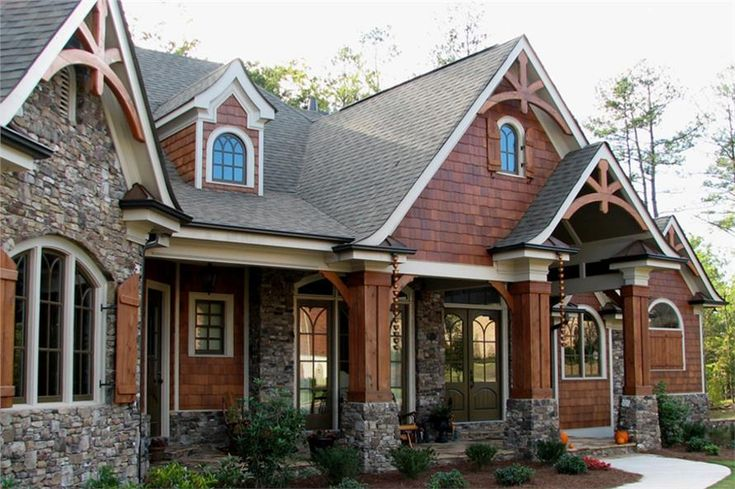 The stone foundations and wood exteriors of the Arts and Crafts style homes are very attractive to residents of the Pacific Northwest. A one-story, three bedroom Arts and Crafts home has an inviting front porch with detailed woodwork and gorgeous picture windows. (Plan 106-1276)