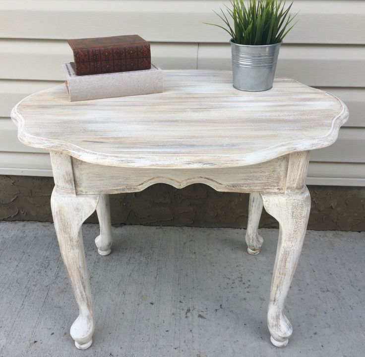 French Linen Chalk Paint Coffee Table: Rustic End Table, Painted With Layers Of Annie Sloan Old