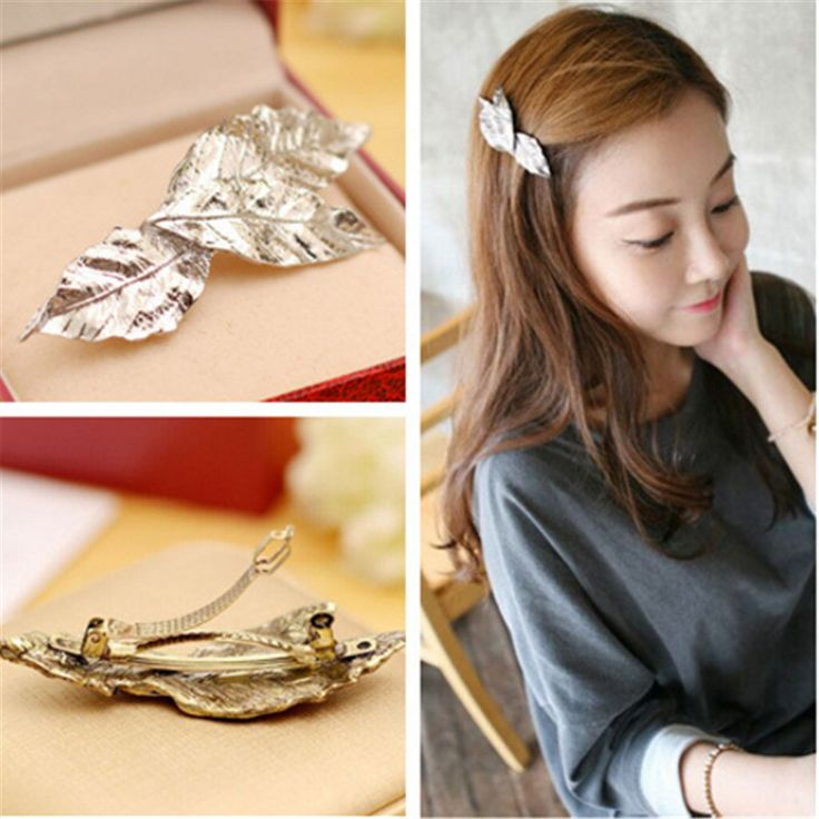 Cute Vintage gold metal leaf Hairpin Metal Feather Big Hairgrips Hair Clip For Women Accessories Jewelry