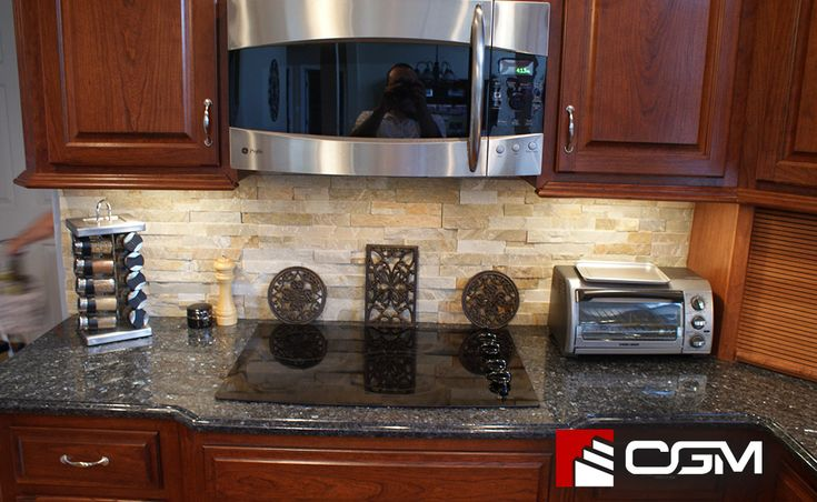 Backsplash with blue pearl granite                                                                                                                                                                                 More