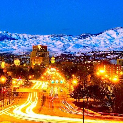 A winters night in Boise.  If the sky is clear, we really do get that beautiful glow on the snow covered Boise Foothills.