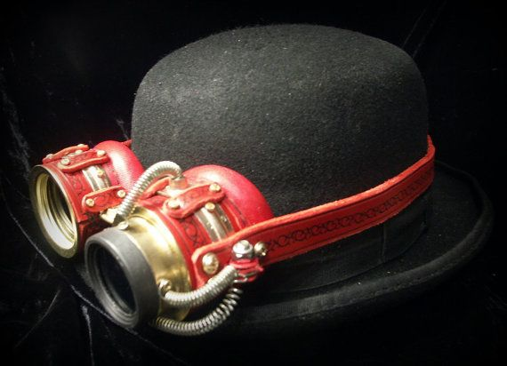 Steampunk goggles in red leather and brass with by TheTimeCabinet