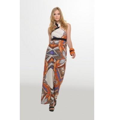 Εμπριμέ μακρύ εξώπλατο φόρεμα με δέσιμο στο λαιμό, 1-303032  long dress prints women's fashion