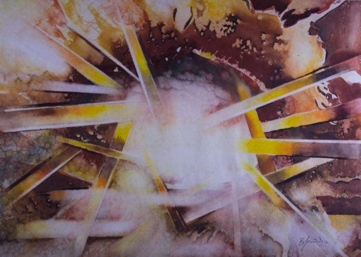 'Spreading the Light' by Benjaminas. Medium: Watercolour. Fine Art Supplier - Drai Fine Art.