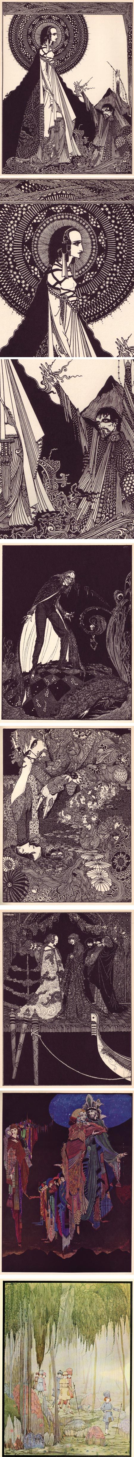 Harry Clarke was a Irish illustrator and stained glass artist, active in the early 20th Century, in the latter part of the Golden Age of Illustration.
