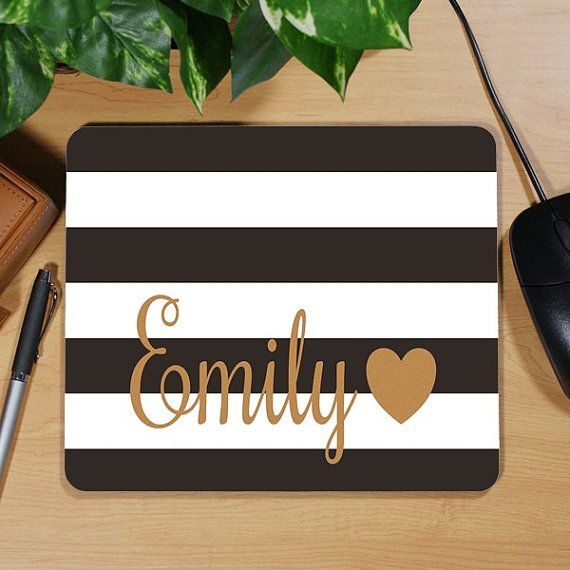 Monogrammed Mousepad  Black Stripe Gold Dorm Graduation Gift Heart Spade Inspired by PreppyPinkies