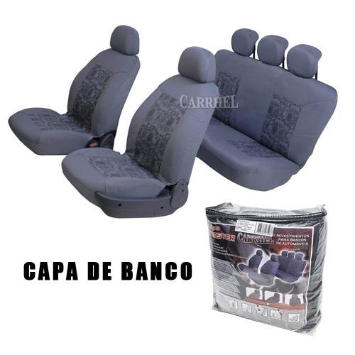 Capa de Banco Automotivo Universal - Mod. Original com Bolsa - Cores Cinza e Preto Varias Estampas