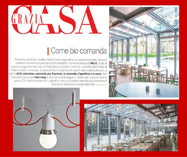 Novecento lights up a new organic restaurant Bio.it in Milan, that's why we are on Grazia Casa.  #Toscot #lightning #lamps #lightdesign #interiordesign