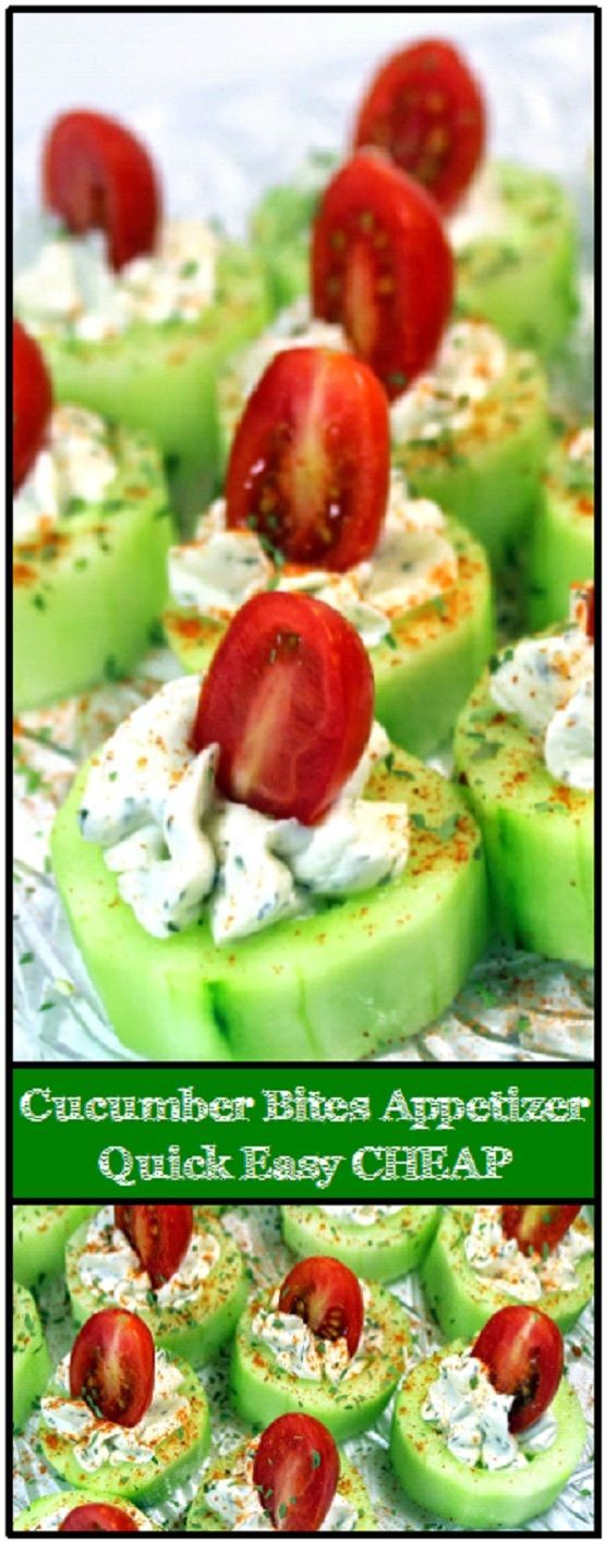 Cucumber Bites with Herb Cream Cheese and Cherry Tomatoes These are fantastic for a number of reasons... Beautifully colorful, a real standout of a dish. Easy, Really Really DIY Easy to make and cost effective, The whole tray of about 36 appetizers will come in at about a quarter each! Perfect dish for a catering appetizer or side dish, Great for a pass a plate PotLuck event or any big family gathering.