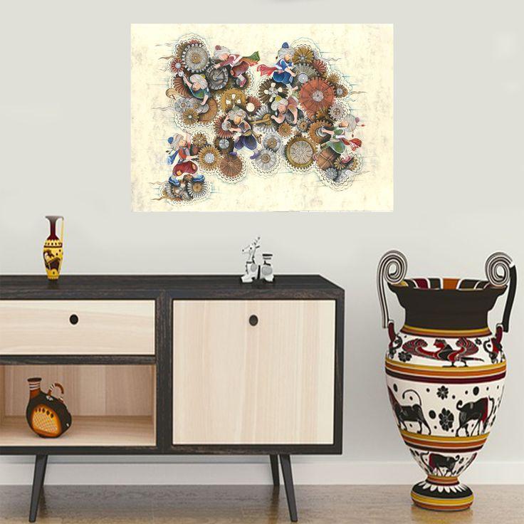 Modern Zamanlar / Modern Times by Merve Karlı Kağıt üzerine Karışık Teknik / #MixedMedia on Paper 86cm x 66cm 7.000₺ / 2.050$  #sanat #gallerymak #sergi #çizim #ig_sanat #resim #tablo #cagdassanat #elsanatlari #desen #minyatur #artgallery #painting #drawing #mimari #içmimar #evdekorasyonu #dekorasyon #decoration #interiordesign #mimar #icmimar #ottoman #contemporaryart #fineart #modernart #craft #artlover #artcollectors