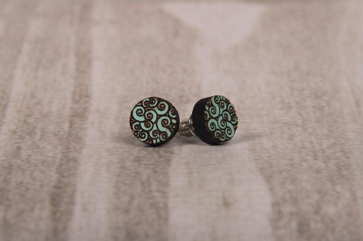 Wooden Laser Cut Green Swirly Round Earrings made in South Africa