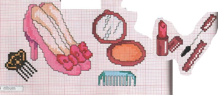 0 point de croix  chaussures roses et maquillage  - cross stitch pink shoes and make up