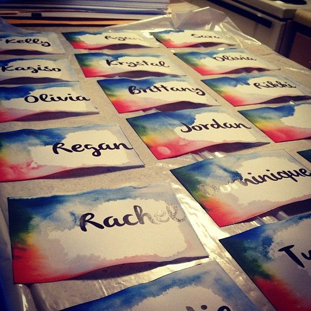 "March door decs ""Printed names on card stock.. Cut them out and put a rubber band around the stack. Soaked the stack in water for 3 minutes.. Then on one side dripped red, yellow, and blue ink on it. Peeled them apart and every name is different :)"""