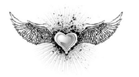 Love my two heart with wings tattoos....