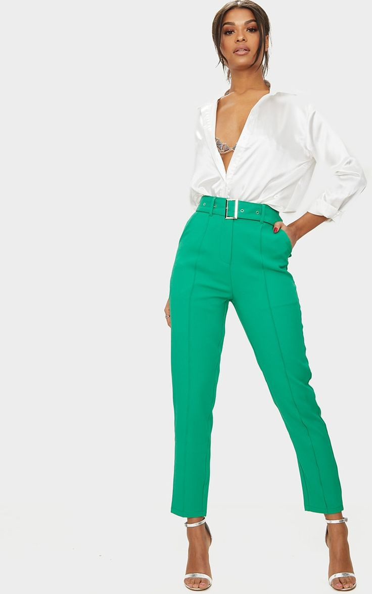 Bright Green Belted Tailored Trousers