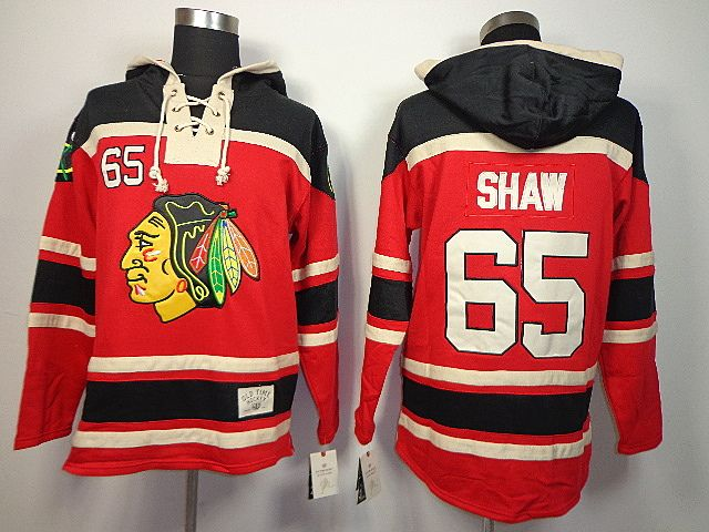 7ec34438824 usa chicago blackhawks 65 andrew shaw lace up jersey hooded sweatshirt  a3b43 28a0a