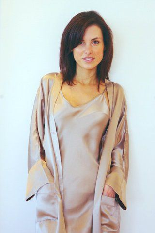 Silk Dressing Gown/ Robe made with 100%, pure charmeuse silk. Available in ivory, black, mink.