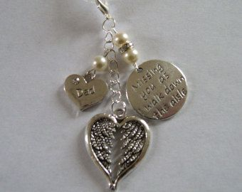 Dad Memorial Bouquet Charm with Swarovski beads, crystal spacers, quote charm and angel wing heart - £7.50 plus p&p