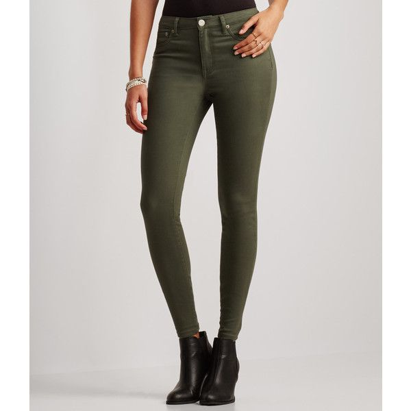 Aeropostale Seriously Stretchy Color Wash High-Waisted Jegging ($25) ❤  liked on Polyvore - The 25+ Best Denim Leggings Ideas On Pinterest Apocalypse