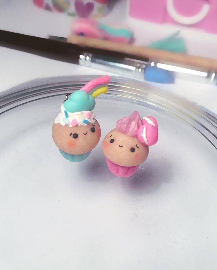 Fimo: 2 niedliche Cupcakes; Kawaii!