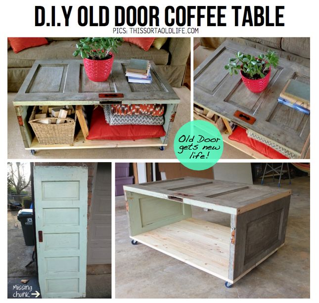 Coffee table out of an old door. Via thissortaoldlife.com