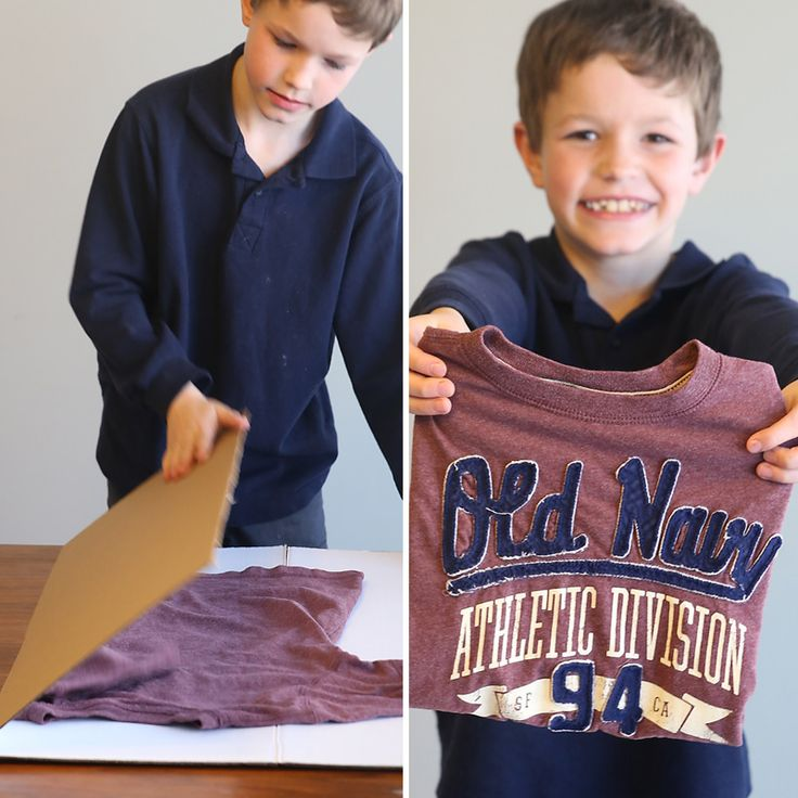 """Teach kids to fold laundry with this simple laundry hack: a cardboard folding """"helper"""". It's easy to make, costs $1, and will have kids helping in no time!"""