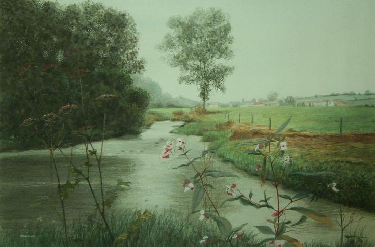 De Geul bij Mechelen, Zuid-Limburg (schilderij/painting van/by Bob Bosma, Heiloo)