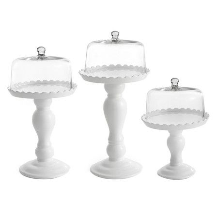 I WANT - I WANT!!!!! Set of three cake pedestal plates with scalloped details and cloches.   Product: Small, medium and large cake pedestal plates wi...