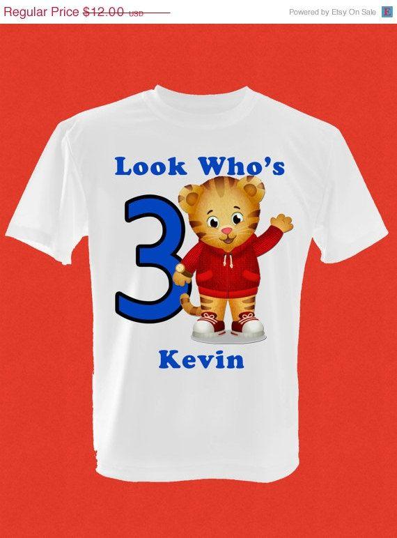 ON SALE Childrens Daniel Tiger Birthday TShirt By Djinvitations 995