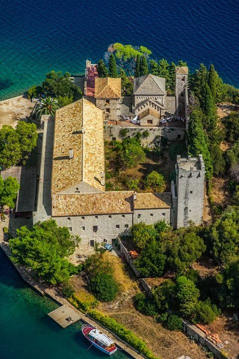 Mljet National Park, Mljet Island, Adriatic Islands, Dalmatia, Croatia.  The oldest pine forest in Europe preserved and Monastery of Saint Mary.  by OPIS Zagreb