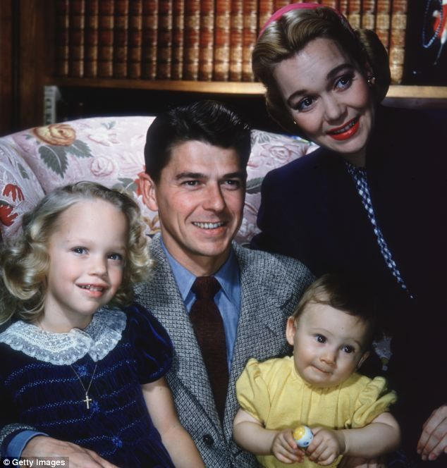 Maureen Reagan was born today 1-4 in 1941 - she was the daughter of Ronald Reagan and Jane Wyman. She passed in 2001. Here she is in 1946 with her parents and brother Michael