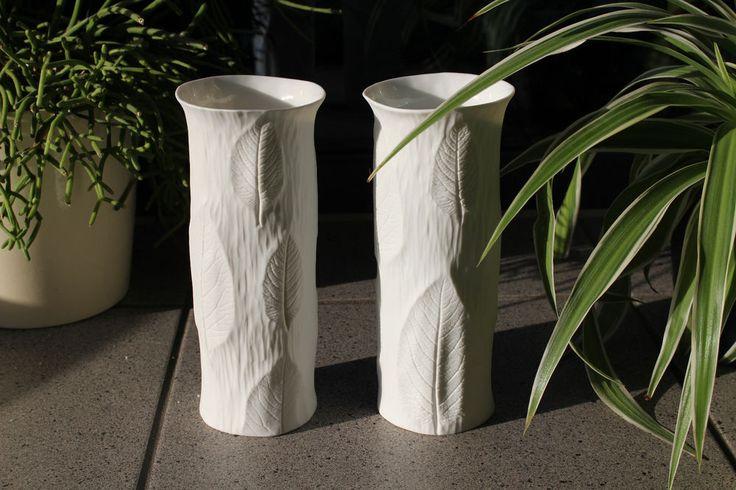 Tirschenreuth Bisquit Porzellan Design Art Vase Tischvase 19 cm Bark Borke 80er