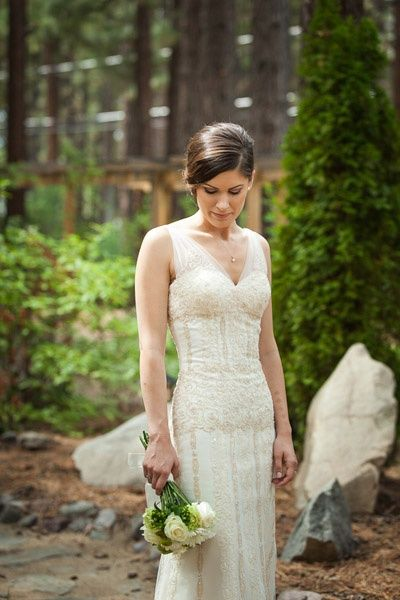 I'm in love with her dress! Real Weddings: Julia and Tony's Lake Tahoe Nuptials   Intimate Weddings - Small Wedding Blog - DIY Wedding Ideas for Small and Intimate Weddings - Real Small Weddings